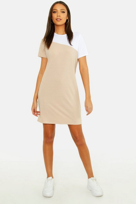 Womens Stone Tall Colour Block Tonal Rib T-shirt Dress