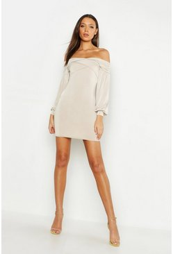 Womens Stone Tall Off The Shoulder Bodycon Mini Dress
