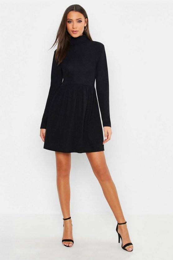 Tall Turtle Neck Rib Smock Dress