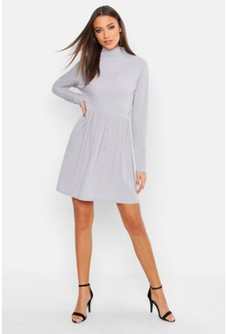 Tall Turtle Neck Rib Smock Dress, Grey, MUJER