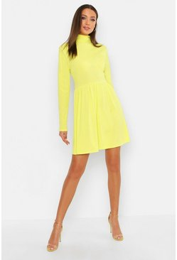 Womens Neon-lime Tall Turtle Neck Rib Smock Dress