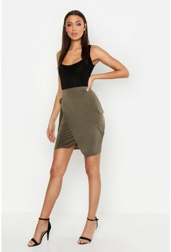 Womens Khaki Tall Slinky Wrap Midi Skirt