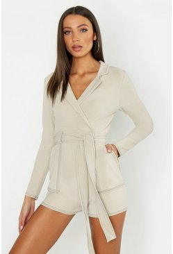 Womens Stone Tall Contrast Stitch Playsuit