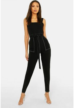 Womens Black Tall Contrast Stitch Jumpsuit