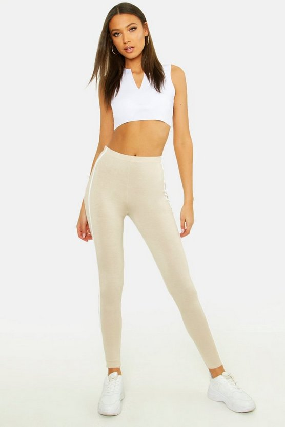 Tall Double Side Stripe Leggings, Stone, Donna