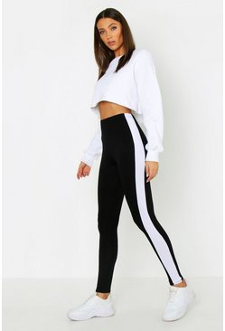 Tall Side Stripe Leggings, Black, MUJER
