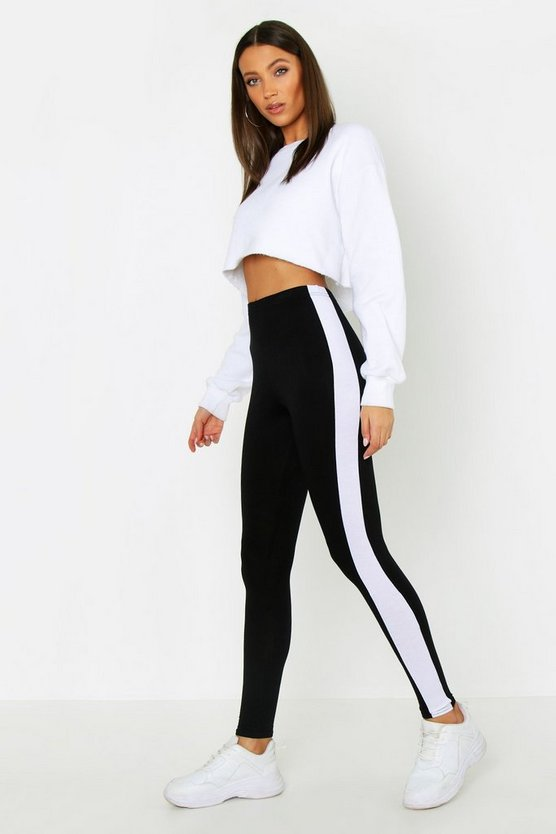 Womens Black Tall Side Stripe Leggings