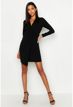 Womens Black Tall Self Fabric Belted Blazer Dress