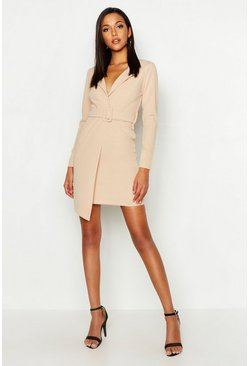 Womens Stone Tall Self Fabric Belted Blazer Dress