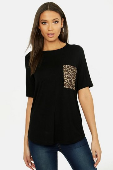 Womens Black Tall Leopard Print Pocket T-shirt