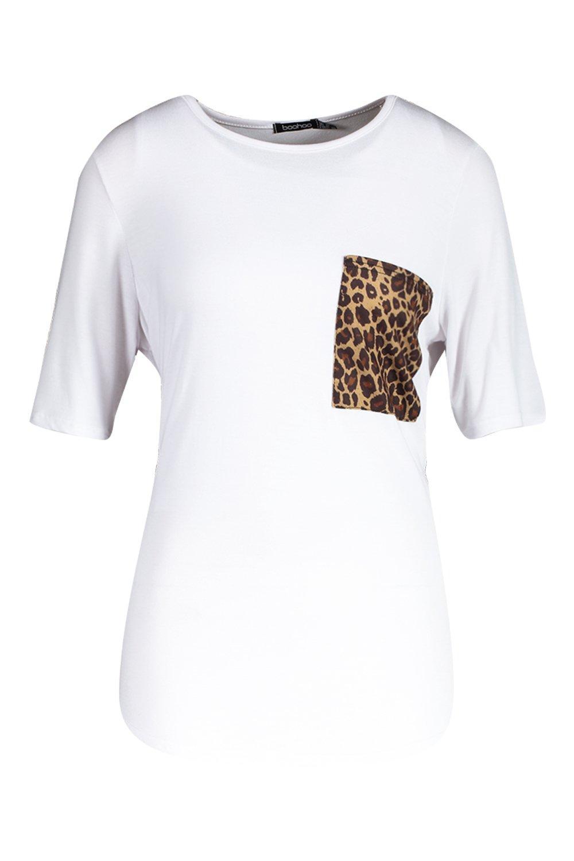 8aab90019d3 Boohoo Womens Tall Leopard Print Pocket T-shirt