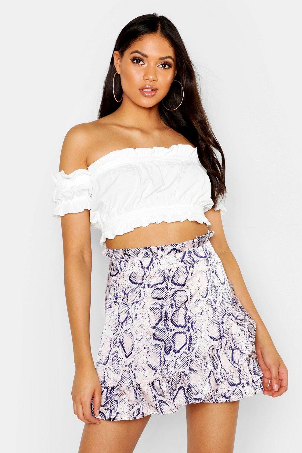eb78a94b49 Womens Blush Tall Snake Print Ruffle Wrap Mini Skirt