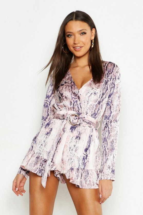 Tall Snake Print Tortoise Shell Buckle Playsuit, Blush, MUJER