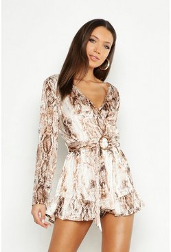 Tall Snake Print Tortoise Shell Buckle Playsuit, Camel, MUJER