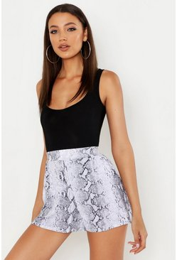 Tall Snake Print Flippy Shorts, Grey