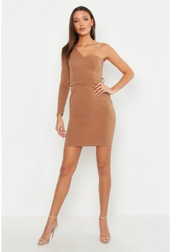 Tall One Shoulder Belted Bodycon Mini Dress, Tan, ЖЕНСКОЕ