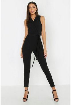Womens Black Tall Sleeveless Blazer Tailored Jumpsuit