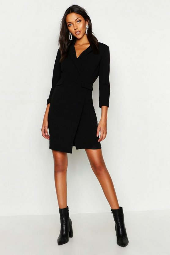 Womens Black Tall Wrap Blazer Dress