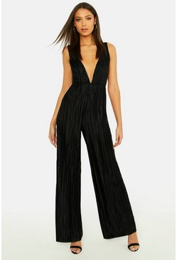 Womens Black Tall Plisse Plunge Jumpsuit