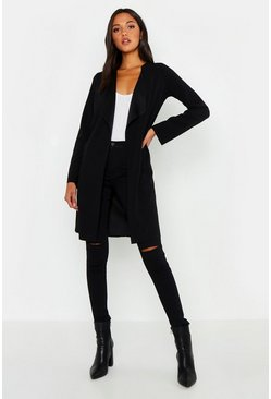 Womens Black Tall Short Belted Waterfall Duster