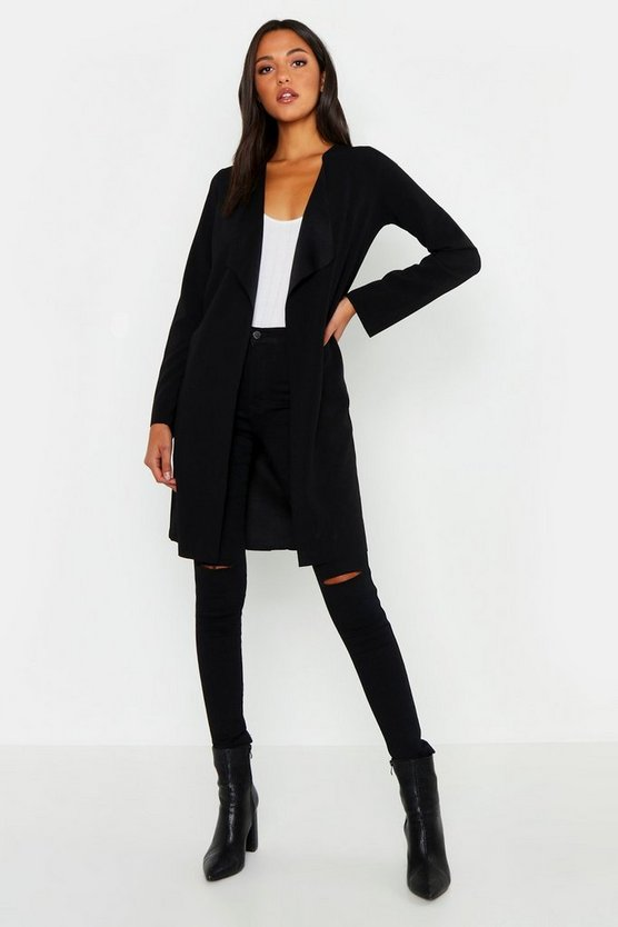 Tall Short Belted Waterfall Duster, Black, MUJER