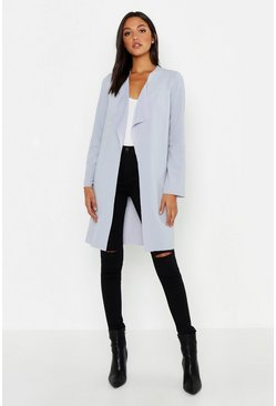 Womens Grey Tall Short Belted Waterfall Duster