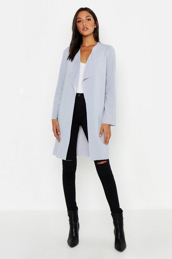 Tall Short Belted Waterfall Duster, Grey, Donna