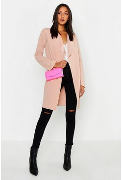 Stone Tall Short Belted Waterfall Duster