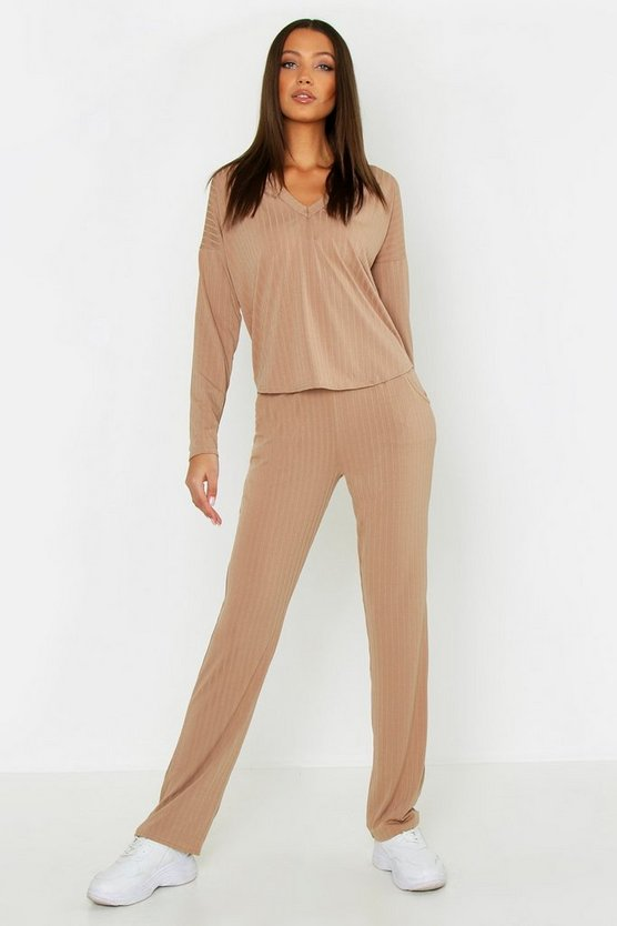 Womens Camel Tall Soft Rib Wide Leg Trousers