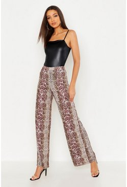 Womens Chocolate Tall Snake Print Wide Leg Trouser