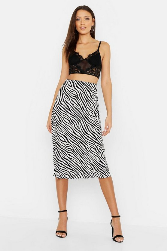 White Tall Zebra Print Satin Midi Skirt