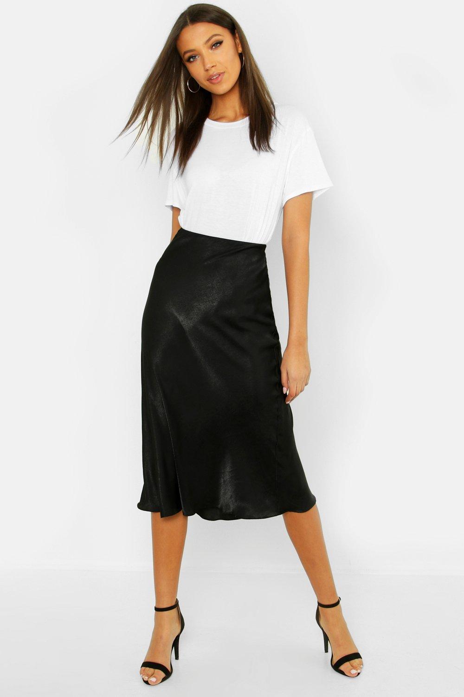 Tall Bias Cut Satin Midi Skirt