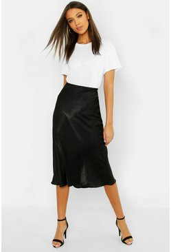 Tall Bias Cut Satin Midi Skirt, Black