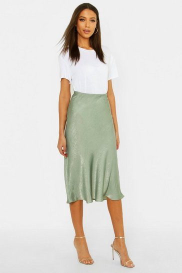 Womens Sage Tall Bias Cut Satin Midi Skirt