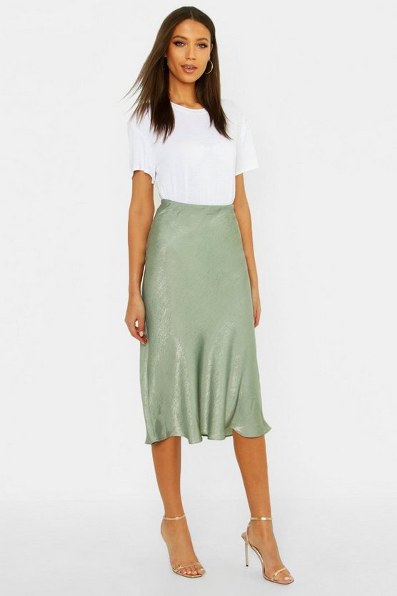 Tall Bias Cut Satin Midi Skirt, Sage, ЖЕНСКОЕ