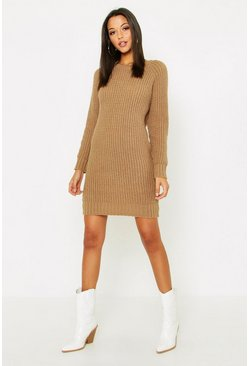 Womens Camel Tall Soft Knit Jumper Dress