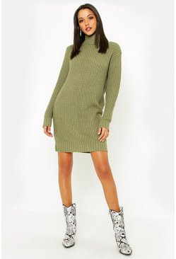 Womens Khaki Tall Roll Neck Jumper Dress