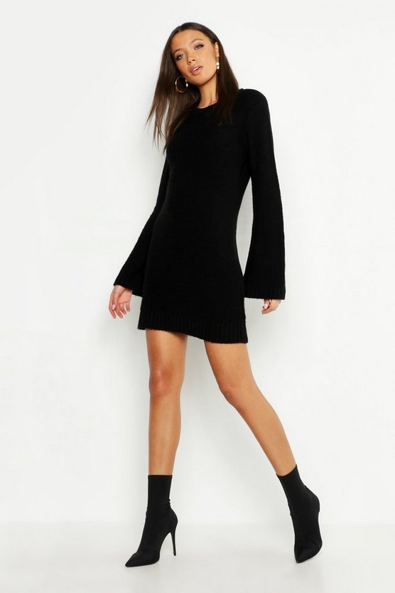 Womens Black Tall Wide Sleeve Jumper Dress