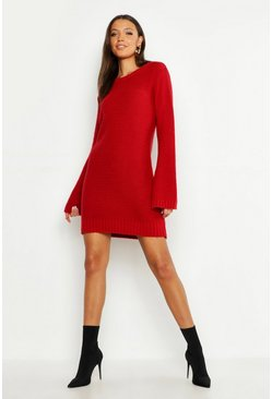 Womens Red Tall Wide Sleeve Jumper Dress
