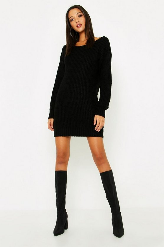 Black Tall Slash Neck Soft Knit Sweater Dress
