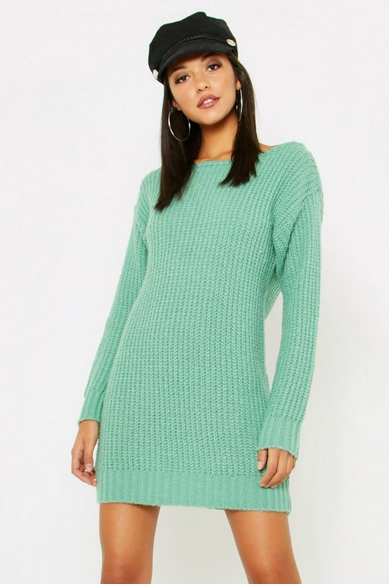 Tall Slash Neck Soft Knit Jumper Dress