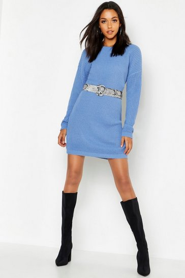Womens Denim Tall V Back Jumper Dress