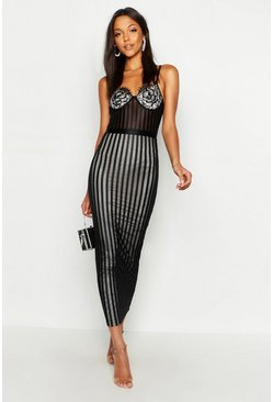 Womens Black Tall Lace & Mesh Bodycon Midi Dress