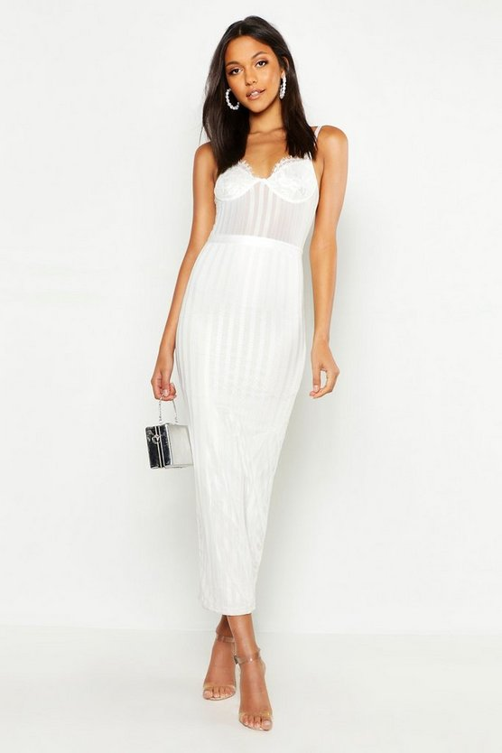 Womens White Tall Lace & Mesh Bodycon Midi Dress