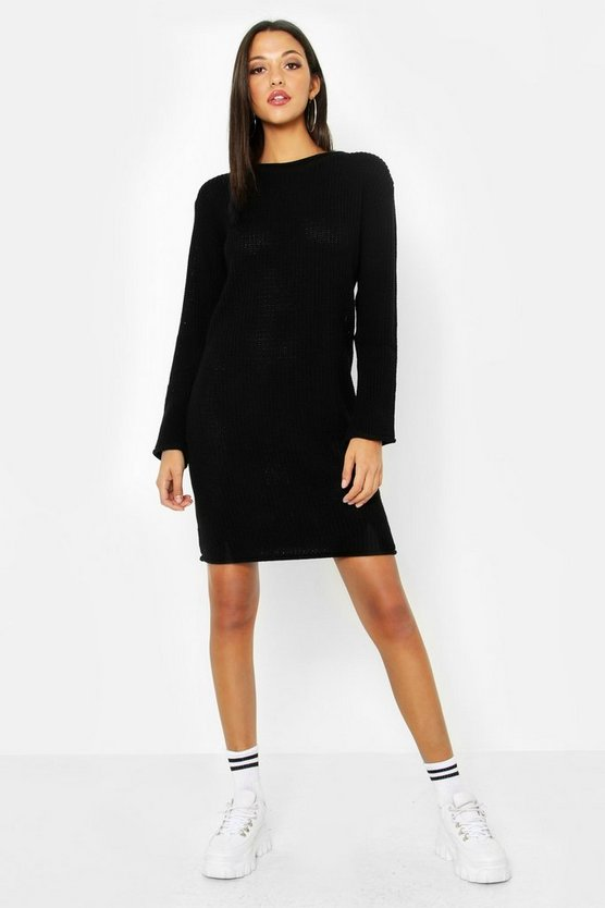 Womens Black Tall Roll Hem Sweater Dress