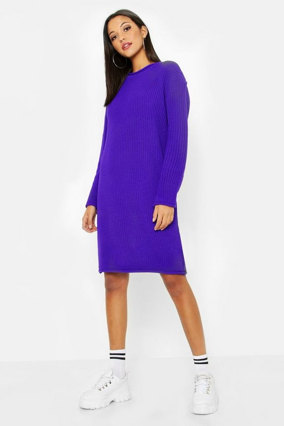Womens Purple Tall Roll Hem Jumper Dress