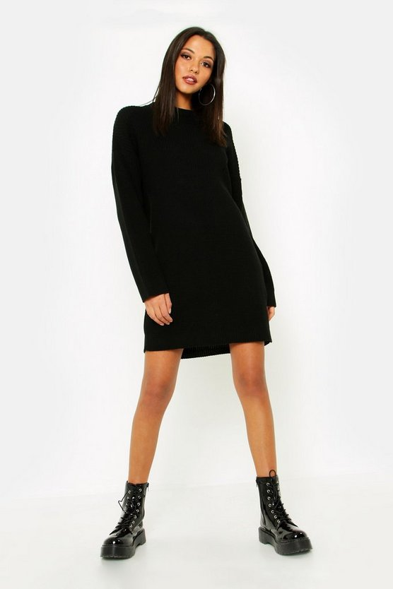 Womens Black Tall Turtle Neck Jumper Dress