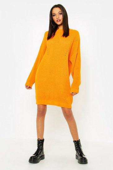 Womens Gold Tall Turtle Neck Jumper Dress
