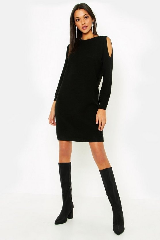 Tall Cold Shoulder Moss Stitch Jumper Dress