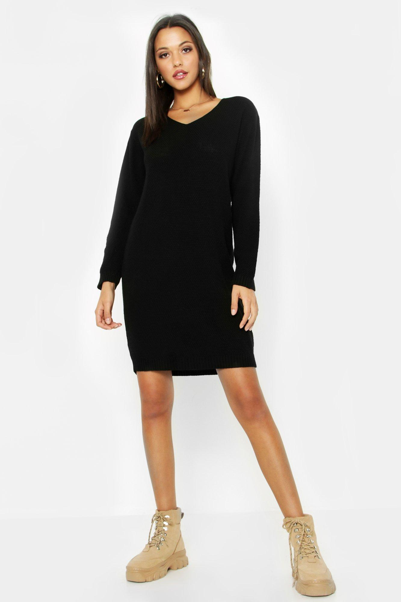 Tall V Neck Moss Stitch Jumper Dress